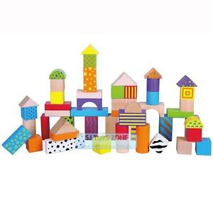 50pcs Wooden Colour & Pattern Educational Building Blocks Learning Toy Sorting S