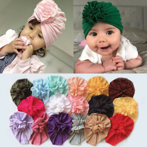 Infant Headband Flower Cotton Bow Turban Headband Stretchy Baby Girl Beanie Hat