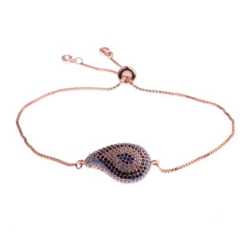Men Fashion Multi-Color Evil Eye Drop/&Shape Cubic Zirconia Stretchable Bracelets