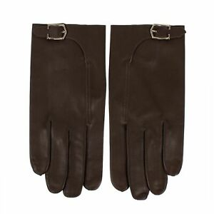 NWT-JOHN-LOBB-Brown-Calfskin-Leather-With-Buckle-Gloves-Size-9-495
