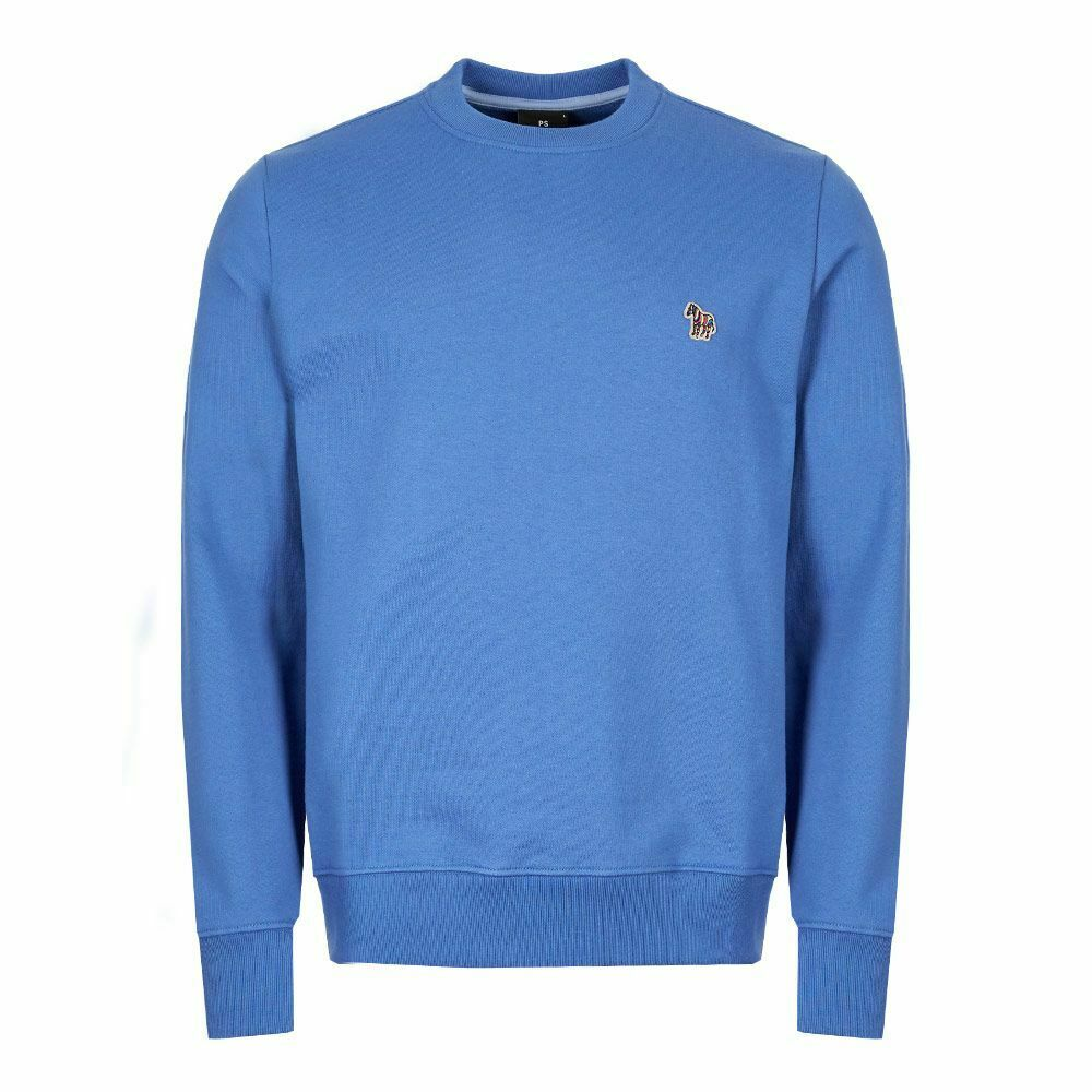 Paul Smith Mens Zebra Badge Logo Regular Fit Sweatshirt Jumper In Powder Blue