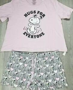 Peanuts Snoopy Hugs 2 Piece Pajamas Pink & Grey Shorts Womens Size Medium NEW
