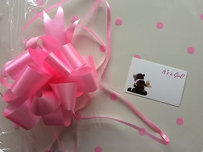 Clear cellophane wrap for hampers 80cm x 1 metre with a medium pink pull bow