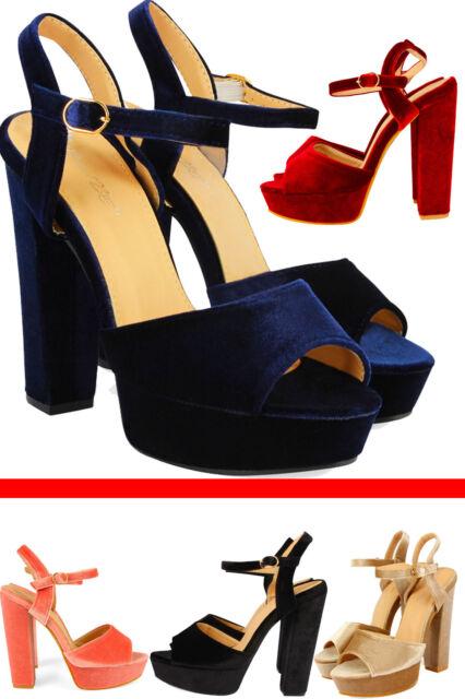 5c7f85c71b8 Women's Ladies High Heel Party Block Platform Peep Toe Girls Ankle Strap  Sandal