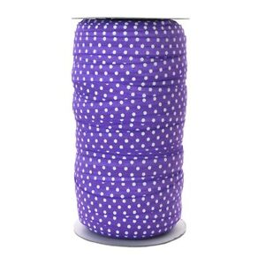 100 Yard Spool - Fold Over Elastic - Purple with White Polka Dots - 5/8in Wide 6806091017460