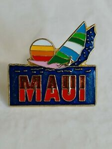 Maui Hawaii Souvenir Lapel Hat Jacket Pin The Aloha State Wind Sailing