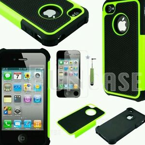 For-iPhone-4-4S-Black-Rugged-Rubber-Matte-Hard-Case-Cover-with-Screen-Protector