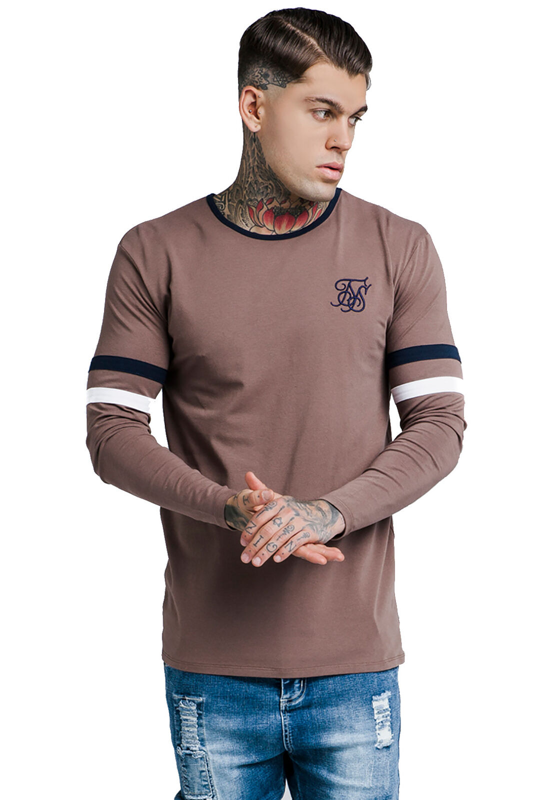 Siksilk Men's Long Sleeve Tournament T-Shirt SS-13826 Brown Rust