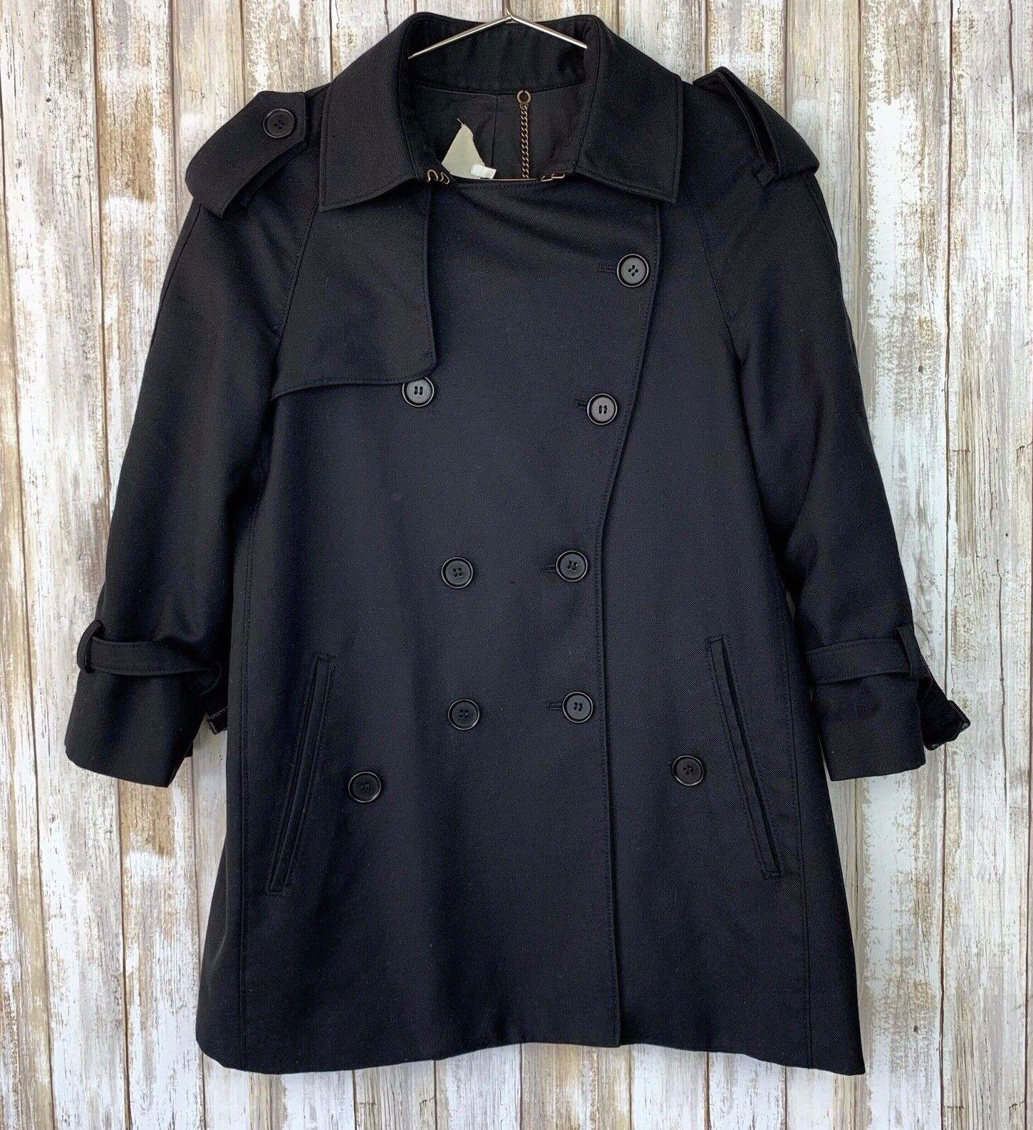 PHILLIP LIM 3.1 Black Thin Button Wool A-line Jacket Coat 2 S Small Vintage VTG