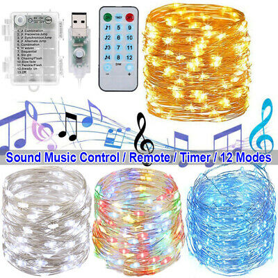 Music Control Sound Activated LED String Lights Remote Bars Parties Christmas US