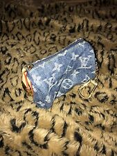 Authentic Louis Vuitton Denim Mini Bb Speedy Monogram Coin Pouch Cles Keychain