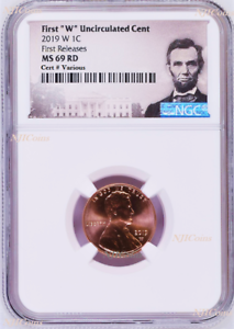 """2019 W First """"W"""" Uncirculated Cent First Releases NGC MS69 penny Portrait Label"""