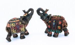 2-Elefanten-Figuren-je-16-x-5-x-15-cm-braun-Elefant-mit-Verzierungen-Tierfigur