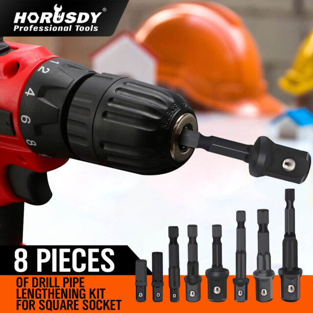 "8Pc Drill Socket Adapter Set Impact Nut Driver Hex Extension Bits 1/4"" 3/8"" 1/2"""