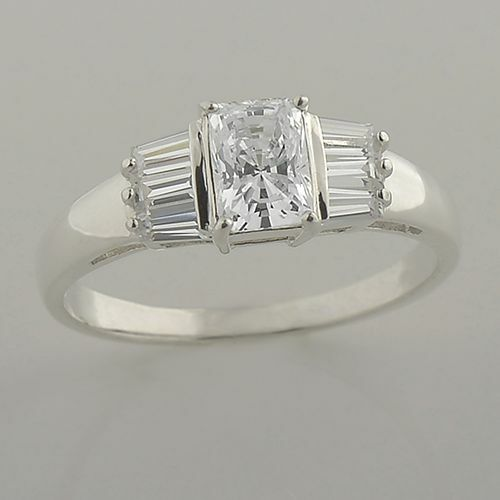 1.74ctw Emerald Cut Cubic Zirconia and Sterling Silver Engagement Ring Size 5-10