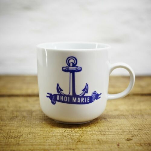 AHOI MARIE Becher Design Anker Hamburg maritim Kaffeebecher KAHLA weiß blau 9x9