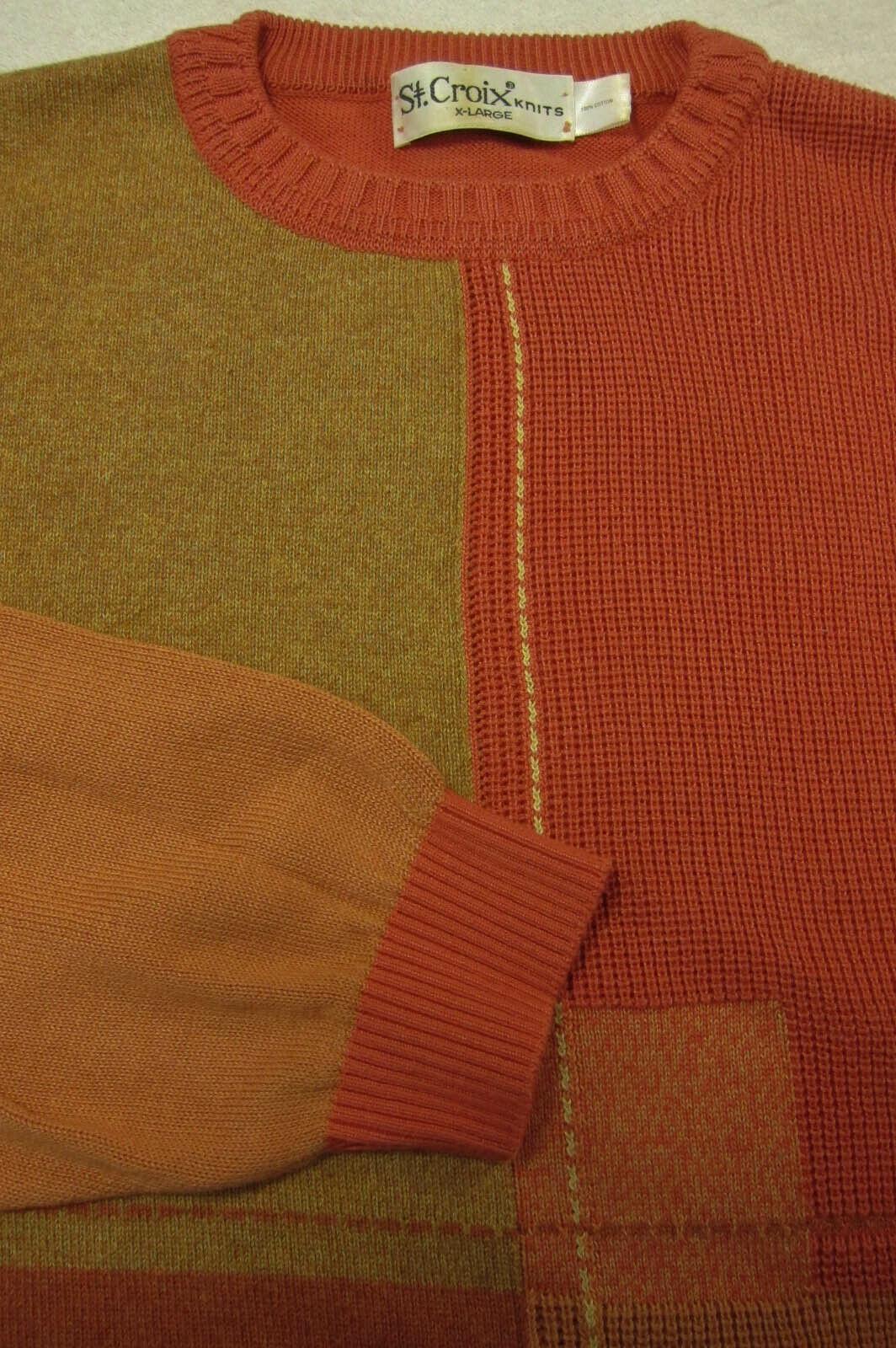 NEW  St. Croix Knits orange Tan Cotton Abstract Geometric Crew Sweater XL