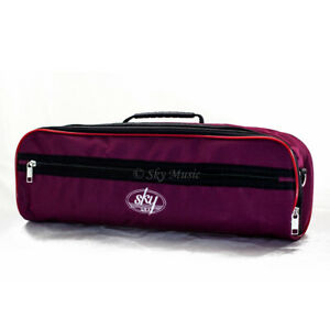 SKY-Brand-High-Quality-Flute-Hard-Case-COVER-with-Pocket-Handle-Strap-Burgundy