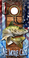 Walleye Fish Hooks One More Cast Cornhole Wrap Bag Toss Skin Decal Sticker