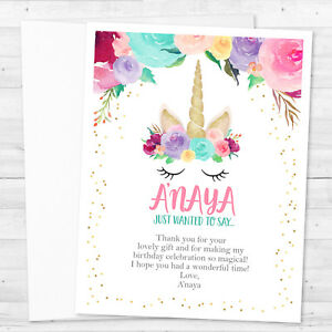 Image Is Loading 8 Unicorn Birthday Party Personalized Thank You Notes