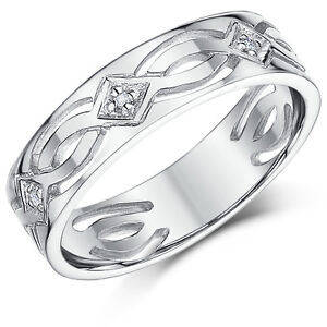 9ct White Gold Celtic Diamond Wedding Ring Brand New Solid Gold and ...