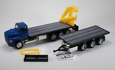 HO 1/87 Promotex # 6384 Ford L-9000 Flatbed truck/trailer W/Hoist Blue