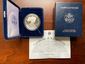 1998 P Silver American Eagle 1 Oz .999 Proof Coin w// Box /& COA