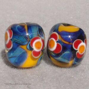 TORRID-Pair-2-Handmade-Glass-Beads-Flaming-Fools-Lampwork-Art-Glass