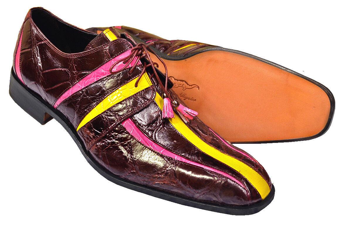 Mauri  Wine Fuchsia Yellow Handmade Italian Alligator Skin shoes Size 8