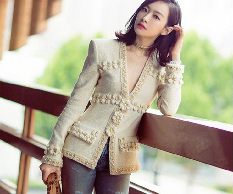 Womens winter Occident fashion New Trench Lady wool coat manual bead coats S-XL