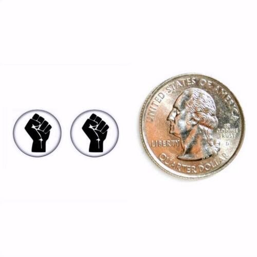 Surélevé Fist Boucles D/'Oreilles 10mm Resist Résistance puissance Noir Salut