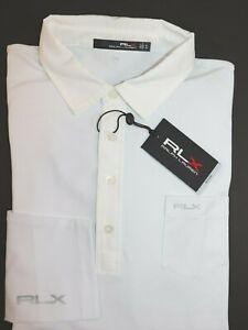 NWT-97-RALPH-LAUREN-Size-XL-Men-039-s-L-S-White-Moisture-Wicking-RLX-Polo-Shirt