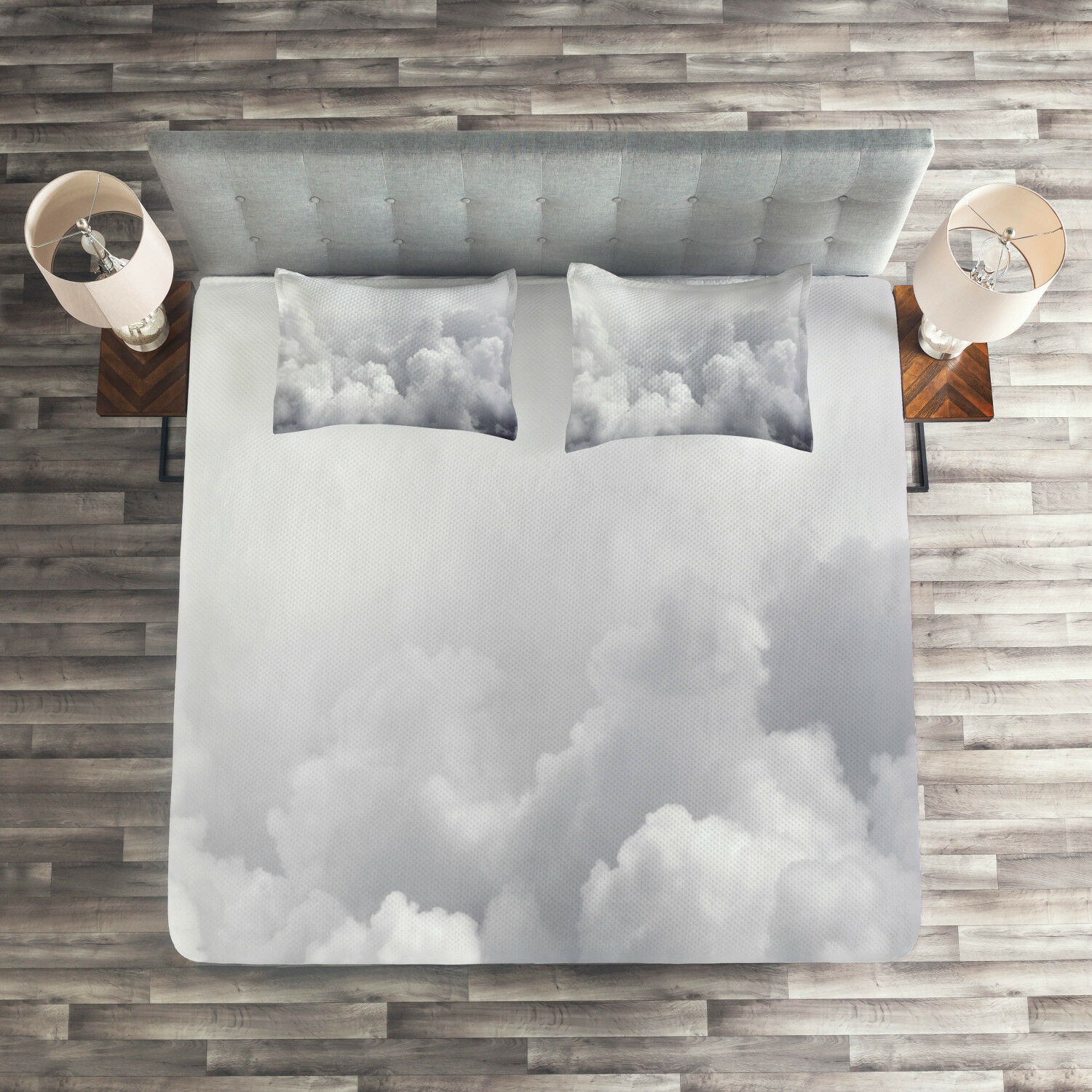Grey Quilted Coverlet & Pillow Shams Set, Dark Clouds Moody Sky Print