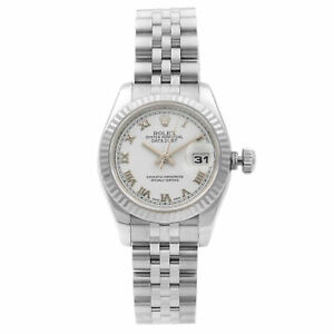 Rolex Datejust Steel 18K White Gold White Roman Automatic Ladies Watch 179174