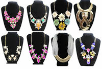 Fashion Chunky Statement Charm Pendant Chain Crystal Jewelry Choker Bib Necklace