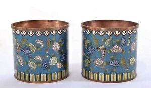 2 Old Chinese Gilt Cloisonne Enamel Scholar Brush Pot Vase Jar Flower Butterfly