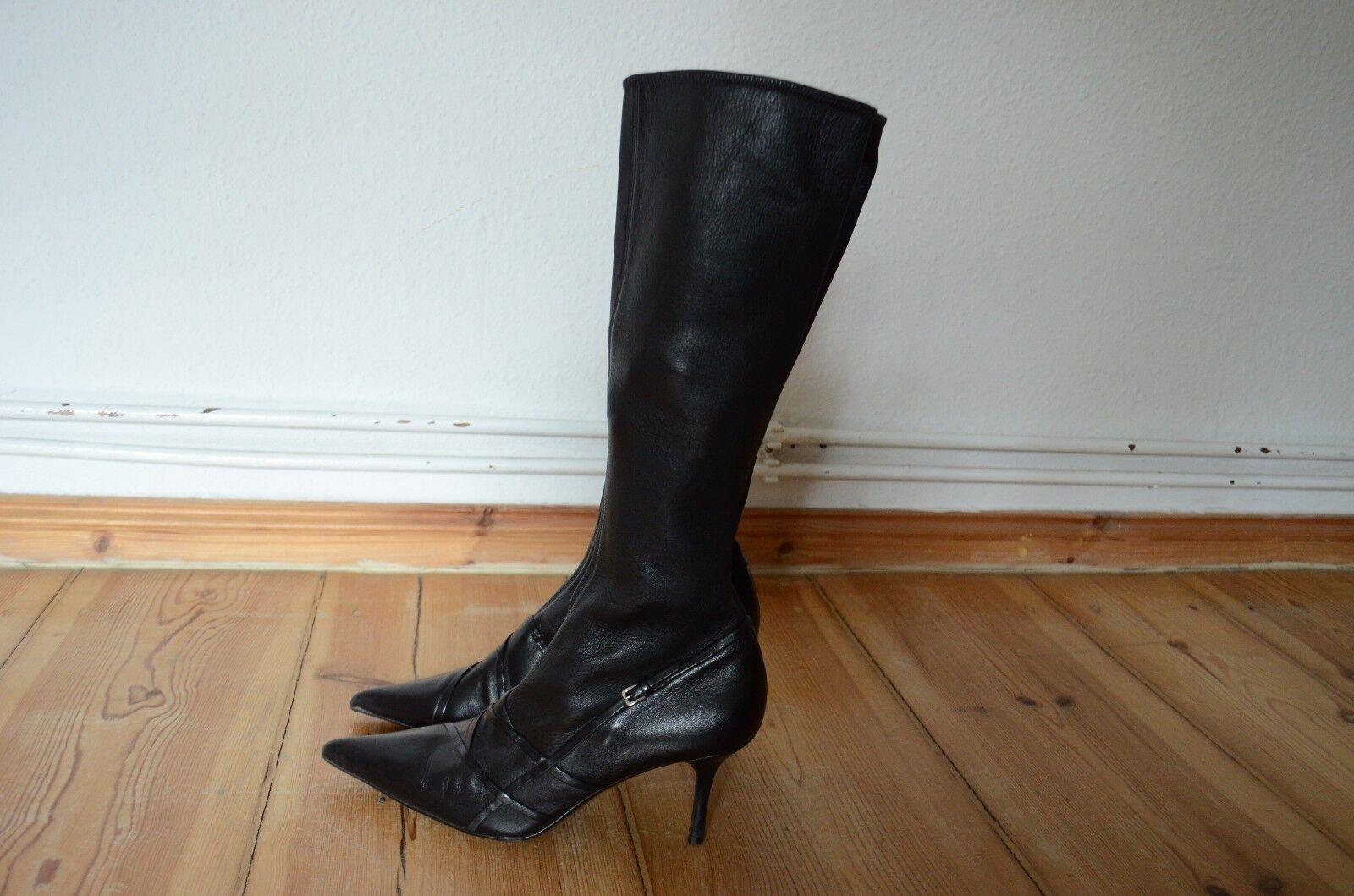 JIL SANDER schwarze Leder Stiefel 40 Stiletto Absätze aufsehenerregend