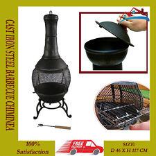 115cm Solid Cast Iron Chimenea & BBQ Combi Bronze Chiminea Patio Heater Barbeque