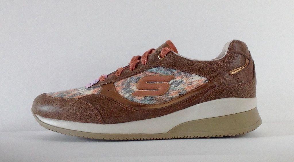 New Skechers Women Vita Hidden Wedge Leather Brown Comfort Sneaker shoes sz 9.5M