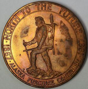 1867-1967-Alaska-Purchase-Centennial-100-Years-BU-Bronze-Commemorative-Medal