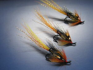 3 V Fly Size 8 Ultimate RV Super Cascade Raider Double Salmon Flies