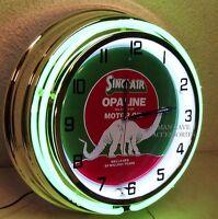 18 Sinclair Opaline Motor Oil Gas Station Double Neon Clock Dino Gasoline