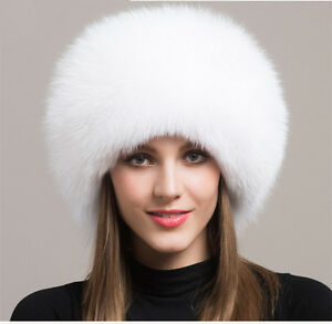 Women Real White Fox Fur Hat Russian Winter Warmer Ear Cap Ushanka ... 8cb4b8505e04