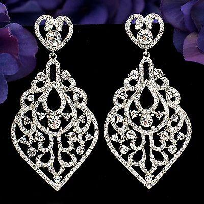 New Rhodium Plated Clear Crystal Rhinestone Drop Chandelier Dangle Earrings 2914