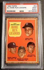 1962 TOPPS #53 AL HOME RUN LEADERS MANTLE, MARIS PSA 9 O/C  PSA 9 SMR $775+