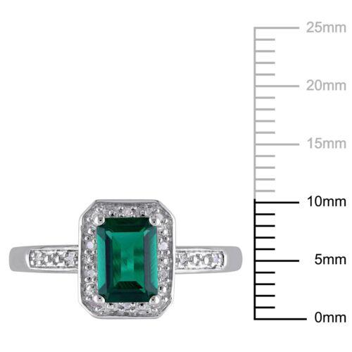 Sterling Silver Diamond et 7//8 carats TGW Emerald Fashion Ring I3