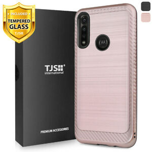 For Motorola Moto G Power 2020, Phone Case TJS Thunder Brushed +Tempered Glass