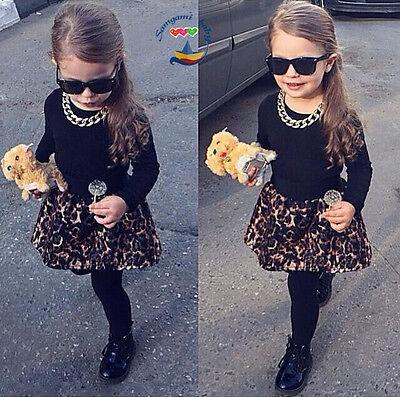 2pc Baby Girl Fashion Black long sleeve T-shirt + leopard skirts pants Fit 9M-7T