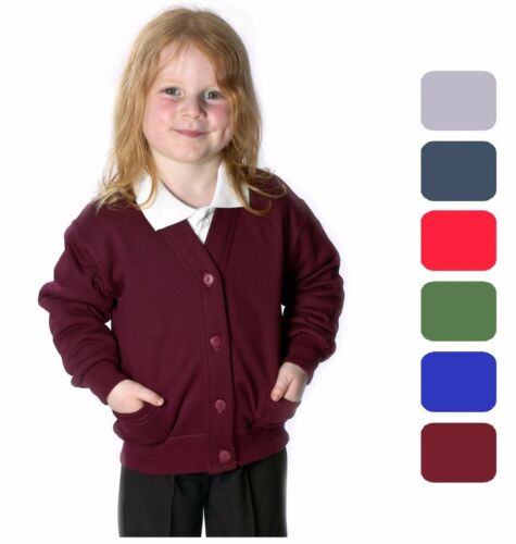 Girls School Cardigan Fleece Sweatshirt Uniform Age 2-14+Adult Size 8 Colours