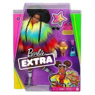 Barbie EXTRA Rainbow Coat Poodle  # 1 African American Doll 2020
